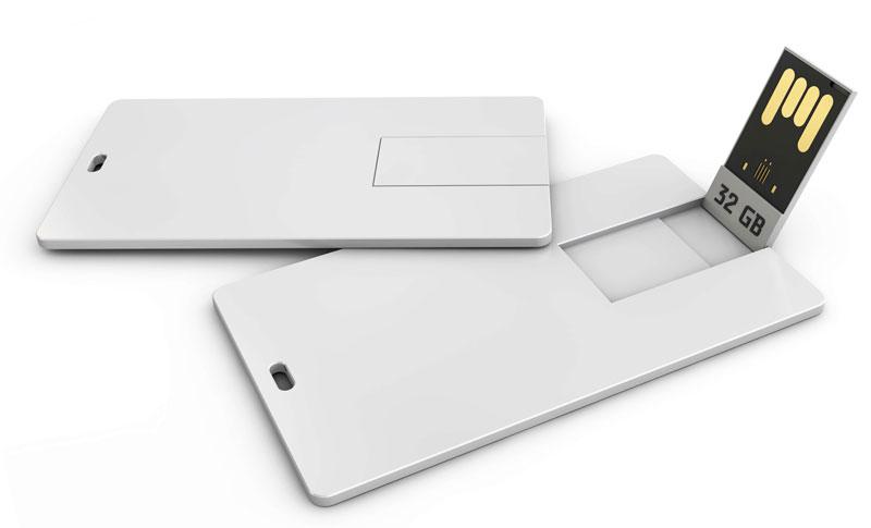 Blank white plastic wafer usb card mockup, 3d Illustration. Visiting flash drive namecard mock up